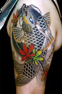 刺青作品 和彫り「龍魚」