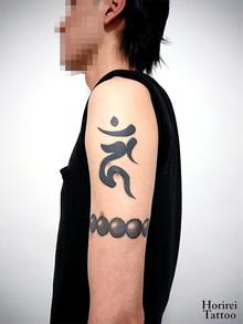 刺青作品 和彫り 「梵字と数珠」