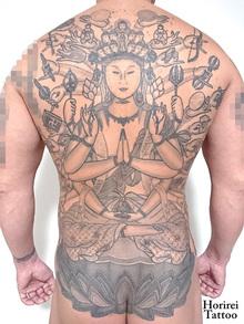 刺青作品 和彫り 「千手観音」