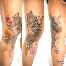 刺青作品 和彫り 「鯉」